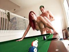 Redhead with big ass boned on pool table tubes
