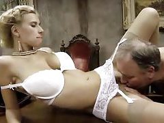 Old fat man fucks a hot blonde in stockings tubes