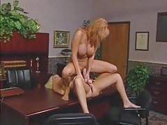 Busty girl big strapon sex in office tubes