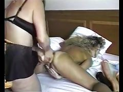 Huge dildo stretches out blonde pussy tubes