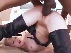 White girl in leather fed huge black cock tubes