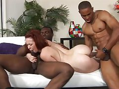 Two black guys fuck a sexy slender redhead tubes