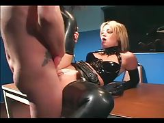Stunning latex hardcore in police station tubes