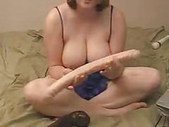 Chubby chick generous with big tits on camera tubes