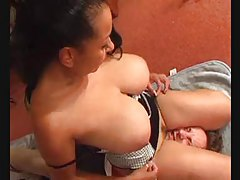 Chubby big tits chick sits on his face tubes