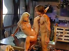 Bimbo in a slutty dress fingered and fucked tubes