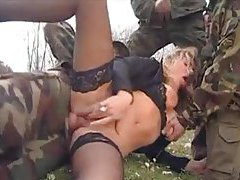 Girl gangbanged in grass by military men tube