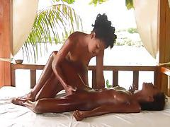 Fingering pussy during an outdoor massage tube