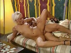 Amazing interracial double penetration with blonde tubes