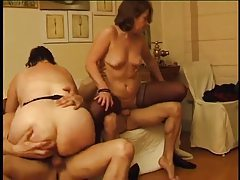 Two old ladies banged by younger men tubes
