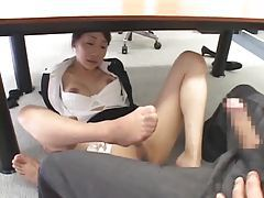 Footjob from girl in his office tubes