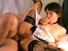 Teen French maid face fucked by BF tubes