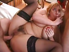 French mom in fishnets and her anal partner tubes