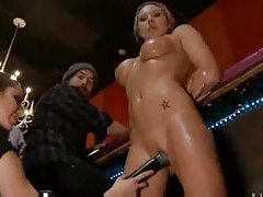 Slut in a bar used by patrons tubes