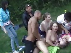 Young folks have an orgy at a picnic tubes