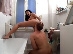 BJ in the bathroom for her lover tubes