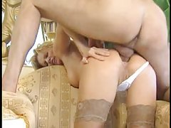Business lady is eventually fucked in the ass tubes