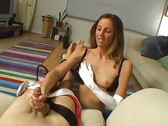 Fabulous handjob while in white satin gloves tubes