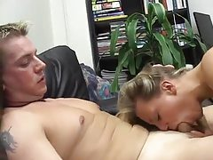 Blonde cocksucker nailed on the couch tubes