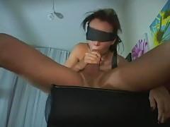 Blindfolded girl has her face fucked tubes