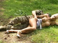 Military man nails blonde bimbo in the woods tubes