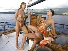 Two sluts fuck the boat captain tubes