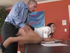 Secretary Ashley Blue fucked in the office tubes