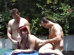 Redhead and four guys fucked outdoors tubes
