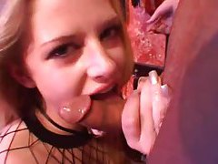 Cocksucking slave girl in fishnets tubes