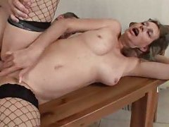 Slippery shaved box mature in fishnets fucked tubes