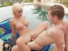 Busty blonde fucked outdoors in porn parody tubes