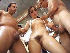 Sasha Grey gangbang with bukkake tubes