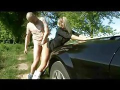 Babe fucked bent over her car tubes