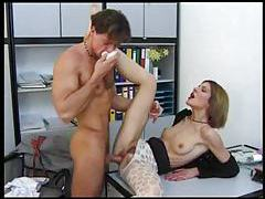 Small tits chick in pantyhose office sex tubes