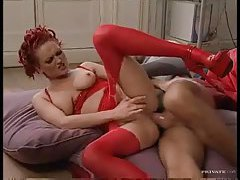 Red corset is sexy on this anal girl tubes