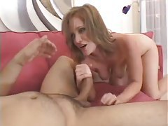 After deepthroat his cum coats her face tube