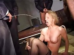 Blonde used hard and pissed on tubes