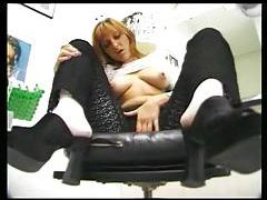Solo girl in lace teases in barber shop tubes