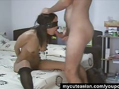Wild Asian babe fucked while blindfolded tubes