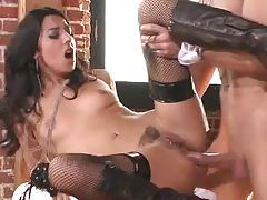 Fishnets and boots on pierced pussy slut tubes