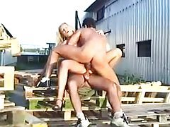 Diana Doll does a 3some with DP outdoors tubes
