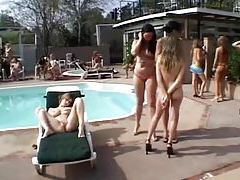 Ladies all squirt on one slut poolside tubes