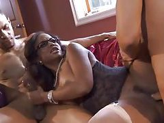 Black girl in glasses loves both dicks tubes