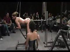 Delilah Strong long BDSM scene with an audience tubes
