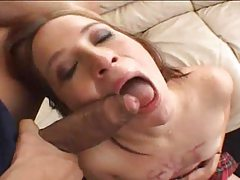 Schoolgirl redhead rough face fuck and deepthroat tubes
