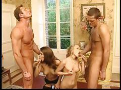 Two Euro girls and their lovers in foursome tubes