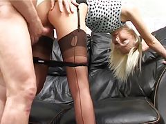 Amateur in seamed stockings fucked from behind tubes
