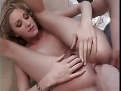 Pretty girl with small tits does a DP tubes