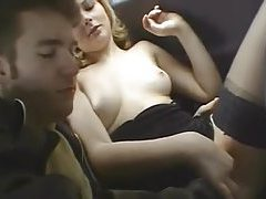 Cute blonde sucks cock in moving car tubes