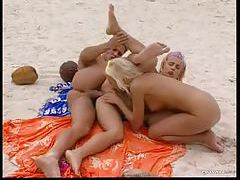 Beach threesome has great anal sex tubes